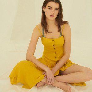LIKE NEW Urban Outfitters Linen Midi Dress Yellow
